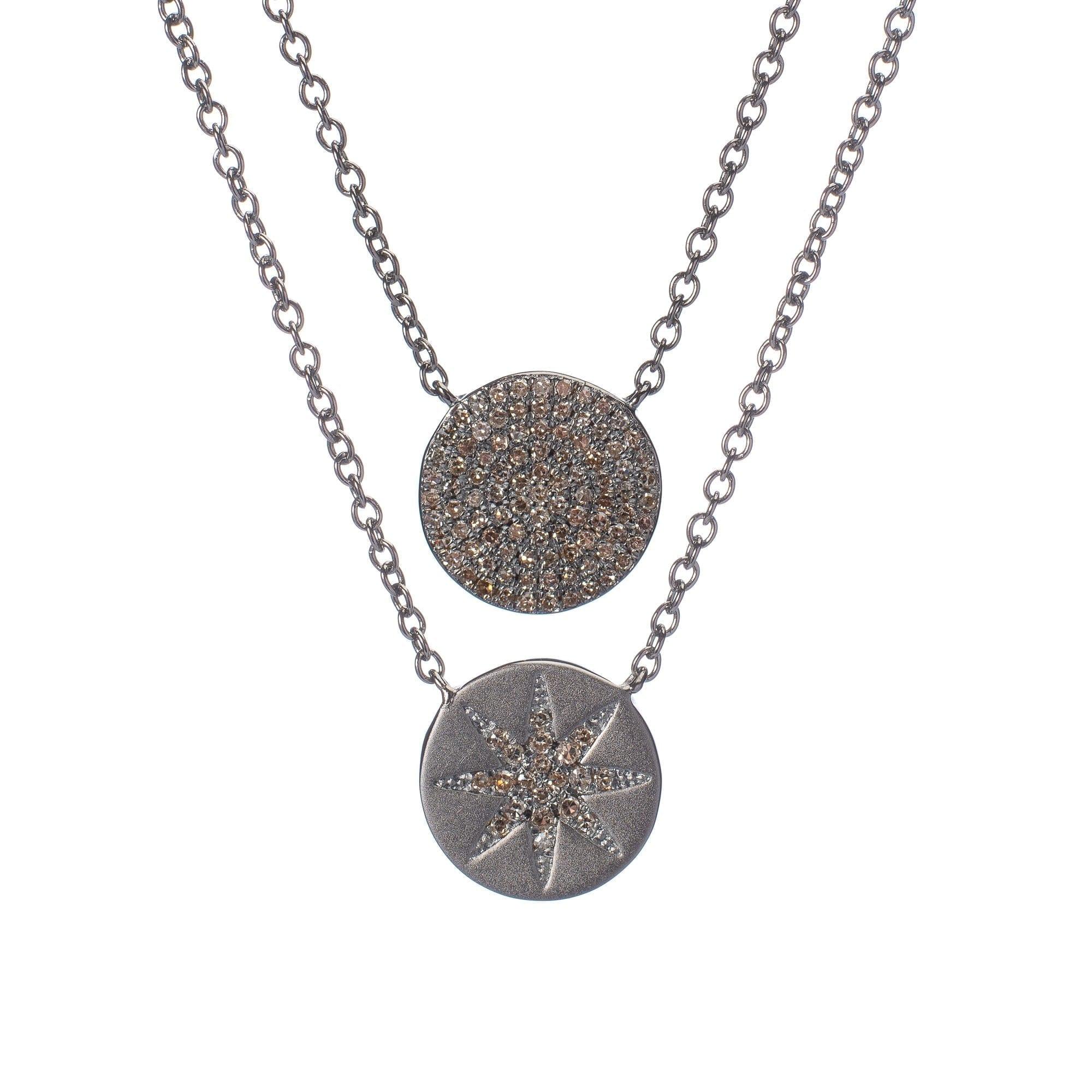 2-Sided Diamond Sunburst Disc Necklace