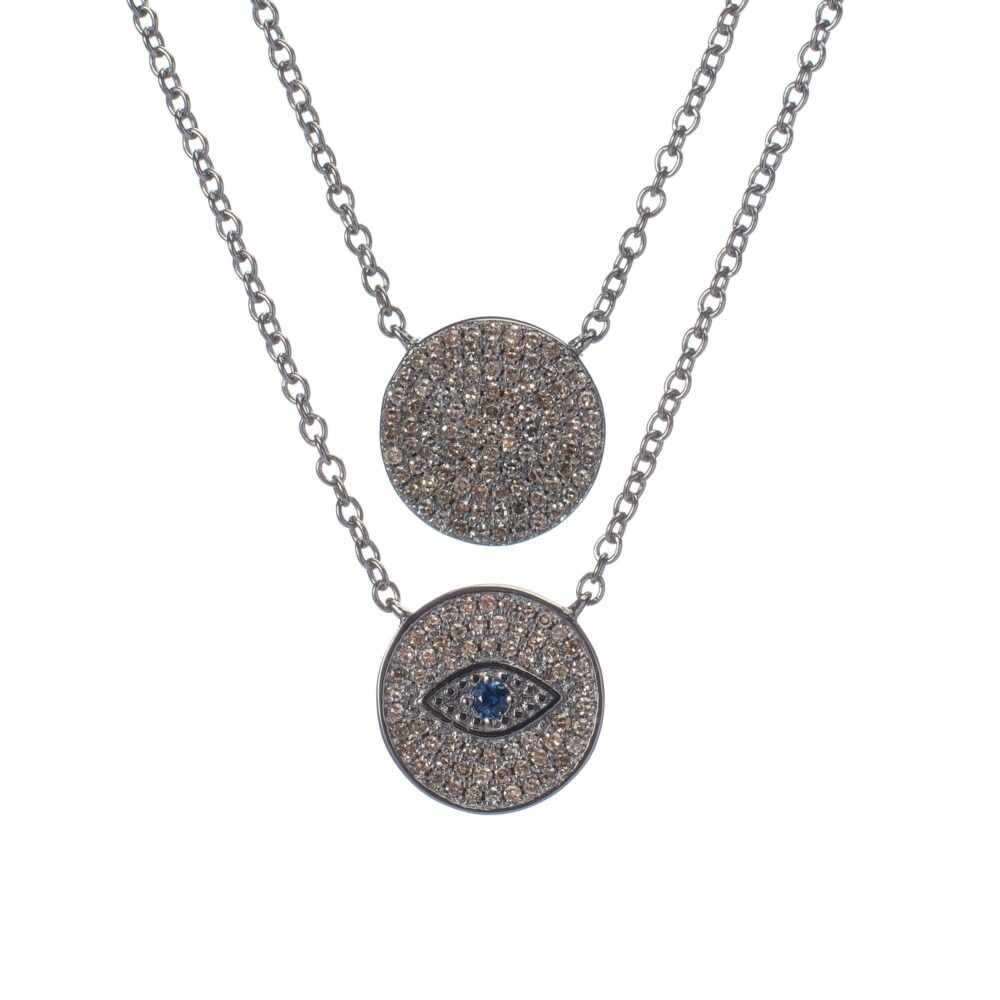 2-Sided Diamond Evil Eye Disc Necklace