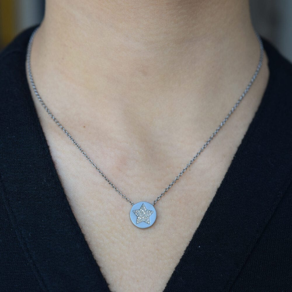 2-Sided Diamond Star Disc Necklace