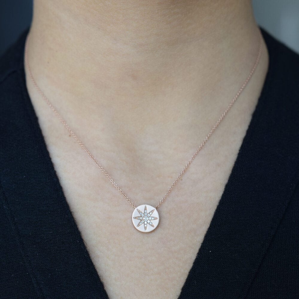 2-Sided Diamond Sunburst Disc Necklace
