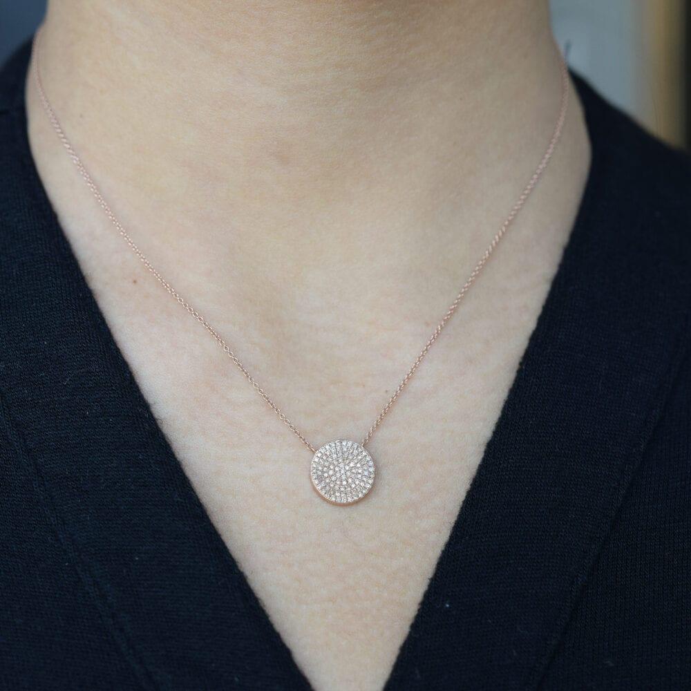 2-Sided Diamond Sunburst Disc Necklace Back
