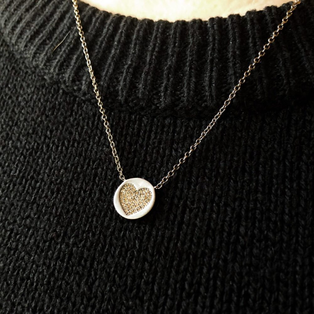 2-Sided Diamond Heart Disc Necklace