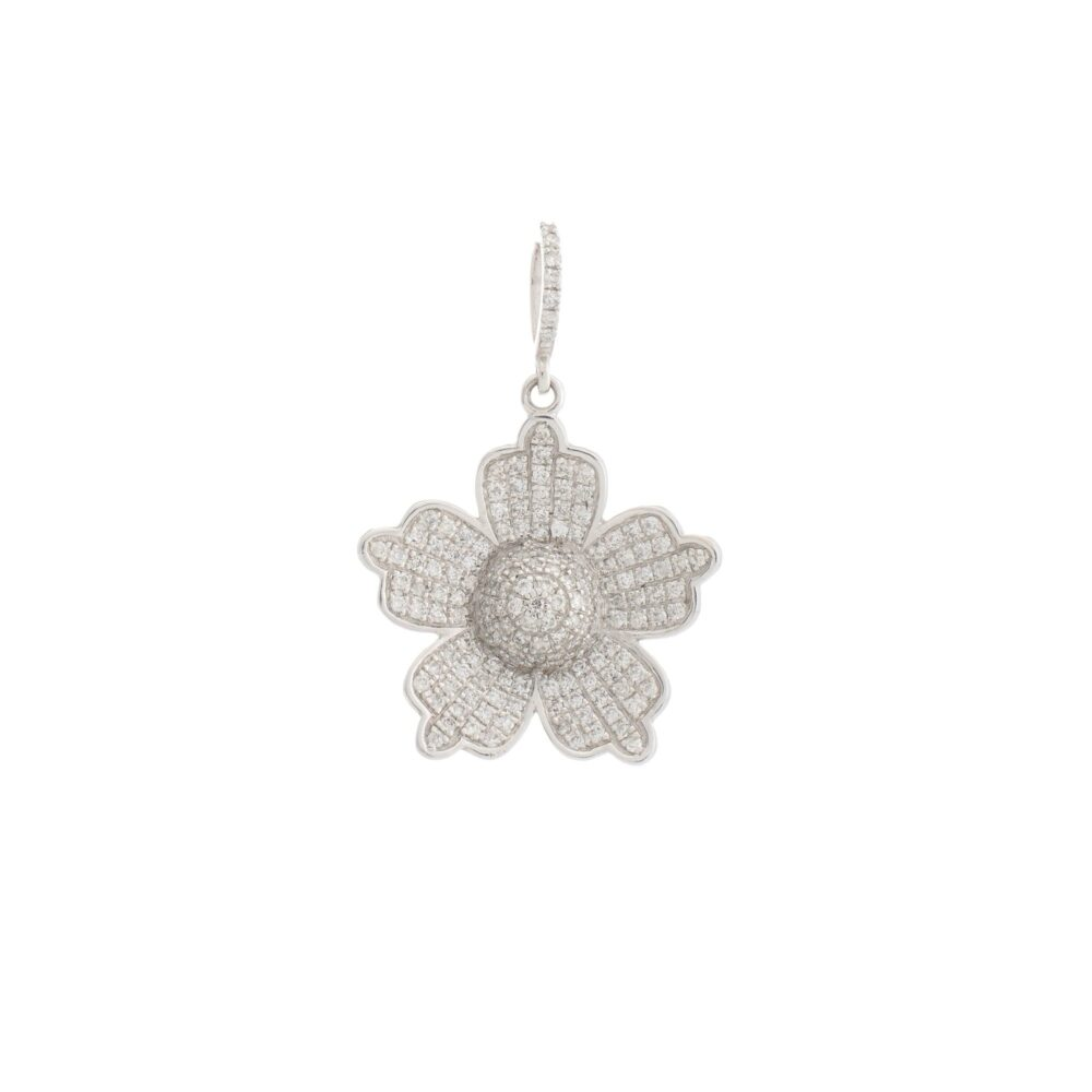 5 Petal Diamond Flower Charm White Gold