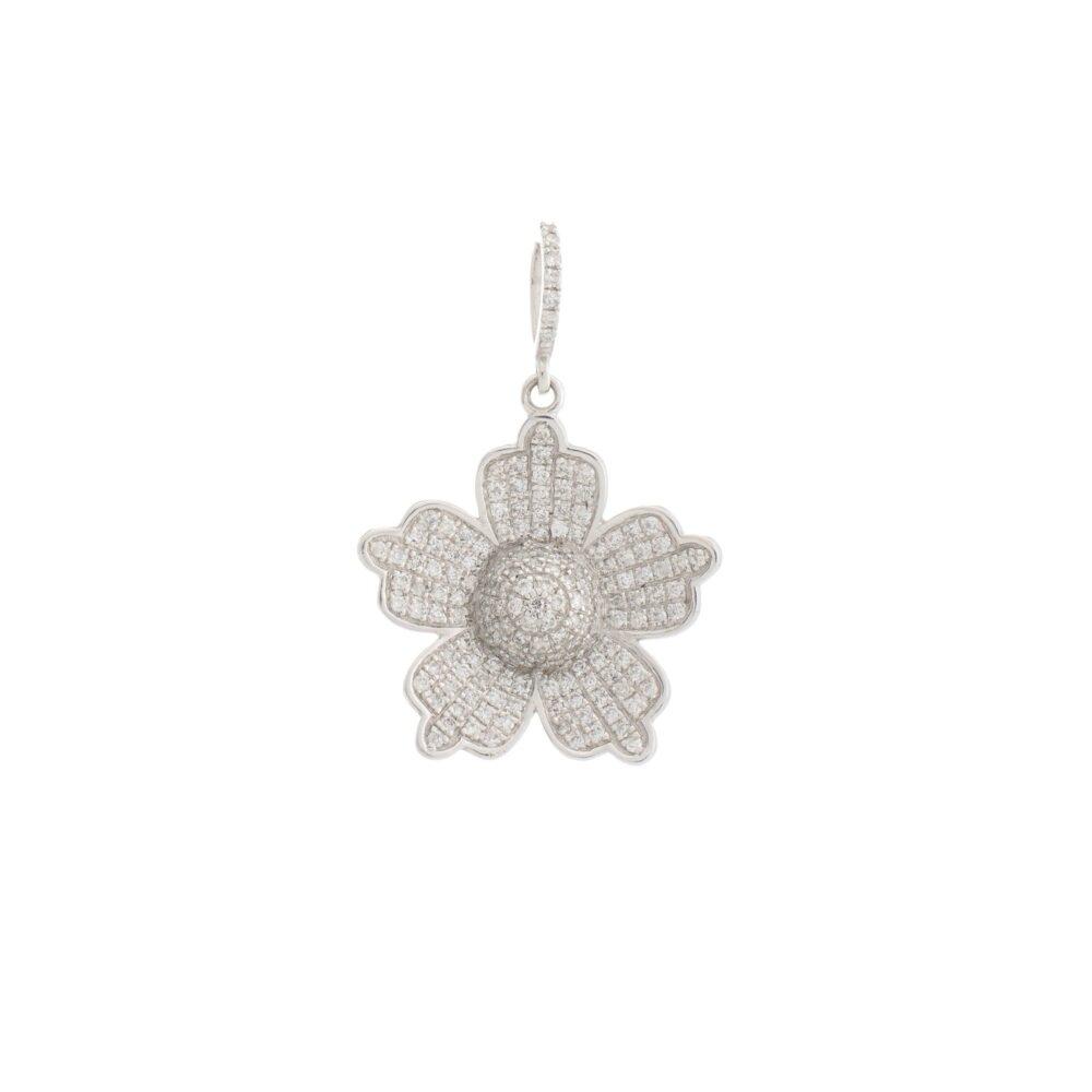 5 Petal Diamond Flower Charm White Gold