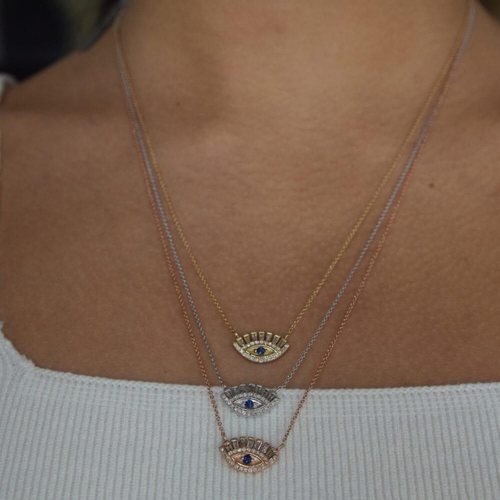 Baguette Diamonds Sapphire Eyelash Necklace