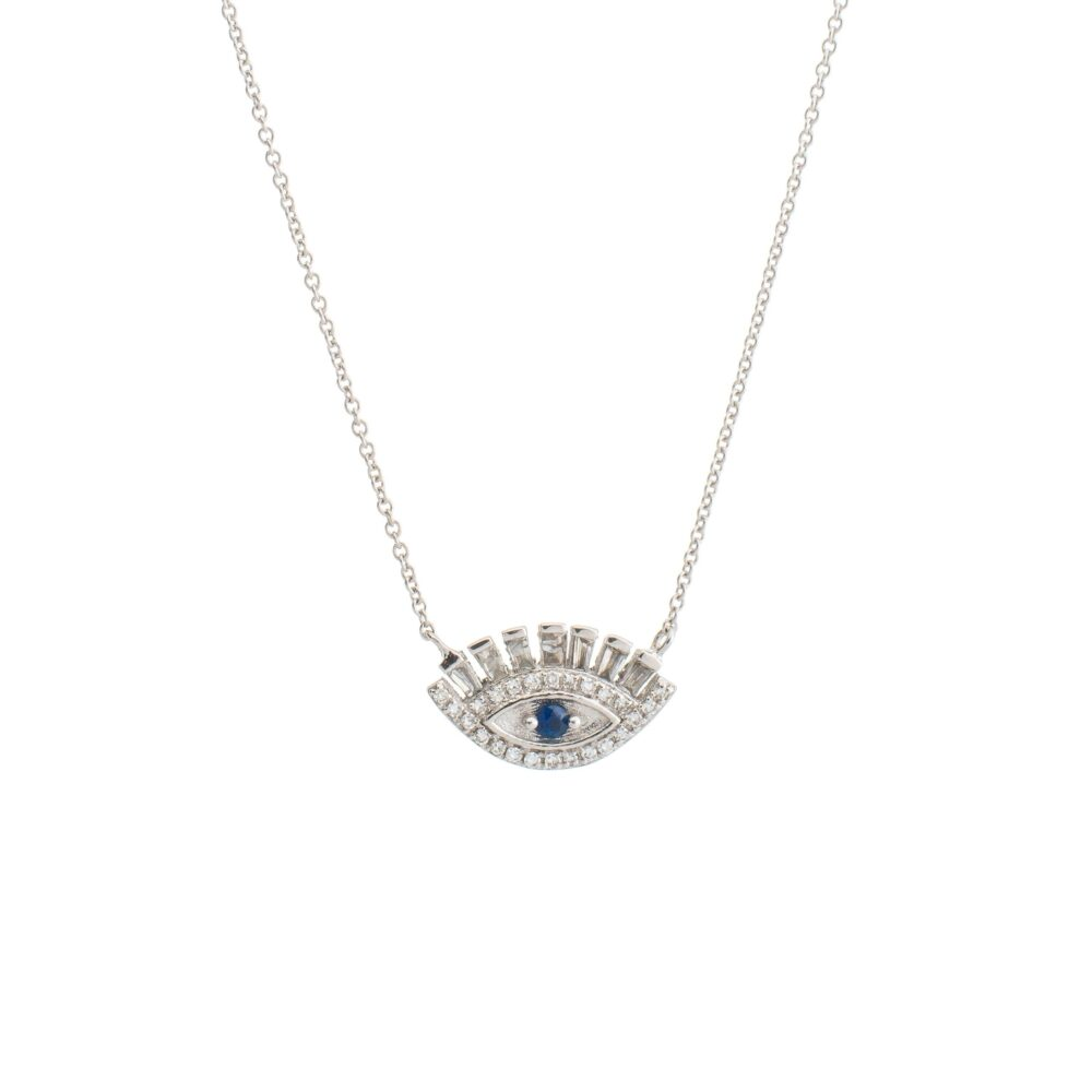 Baguette Diamonds + Sapphire Eyelash Necklace White Gold