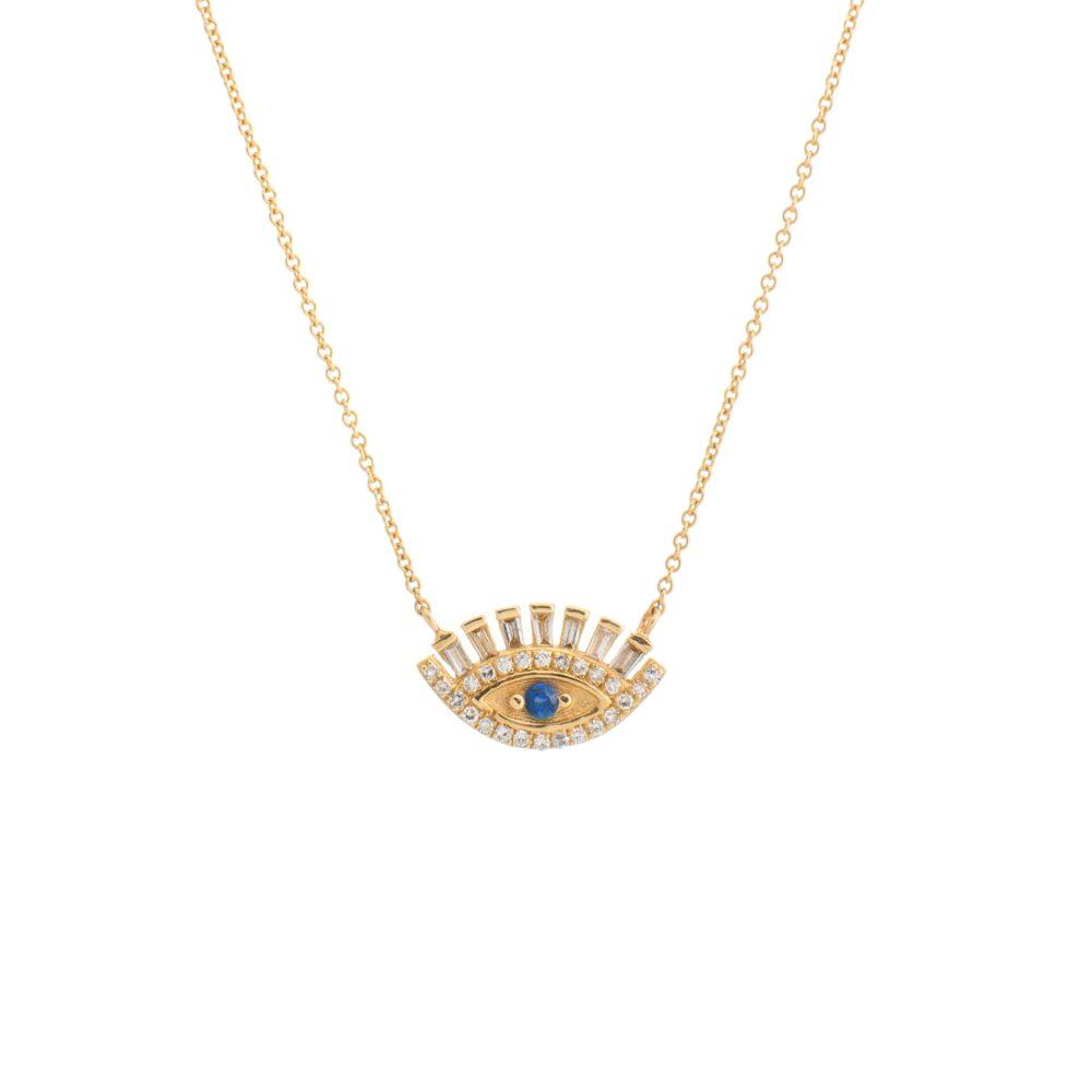 Baguette Diamonds + Sapphire Eyelash Necklace Yellow Gold