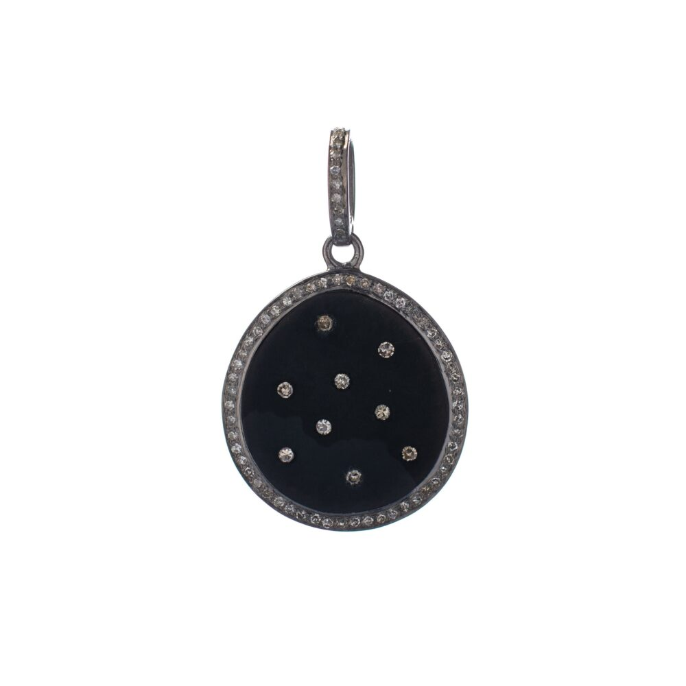 Black Metal Disc Pendant with Diamonds Silver