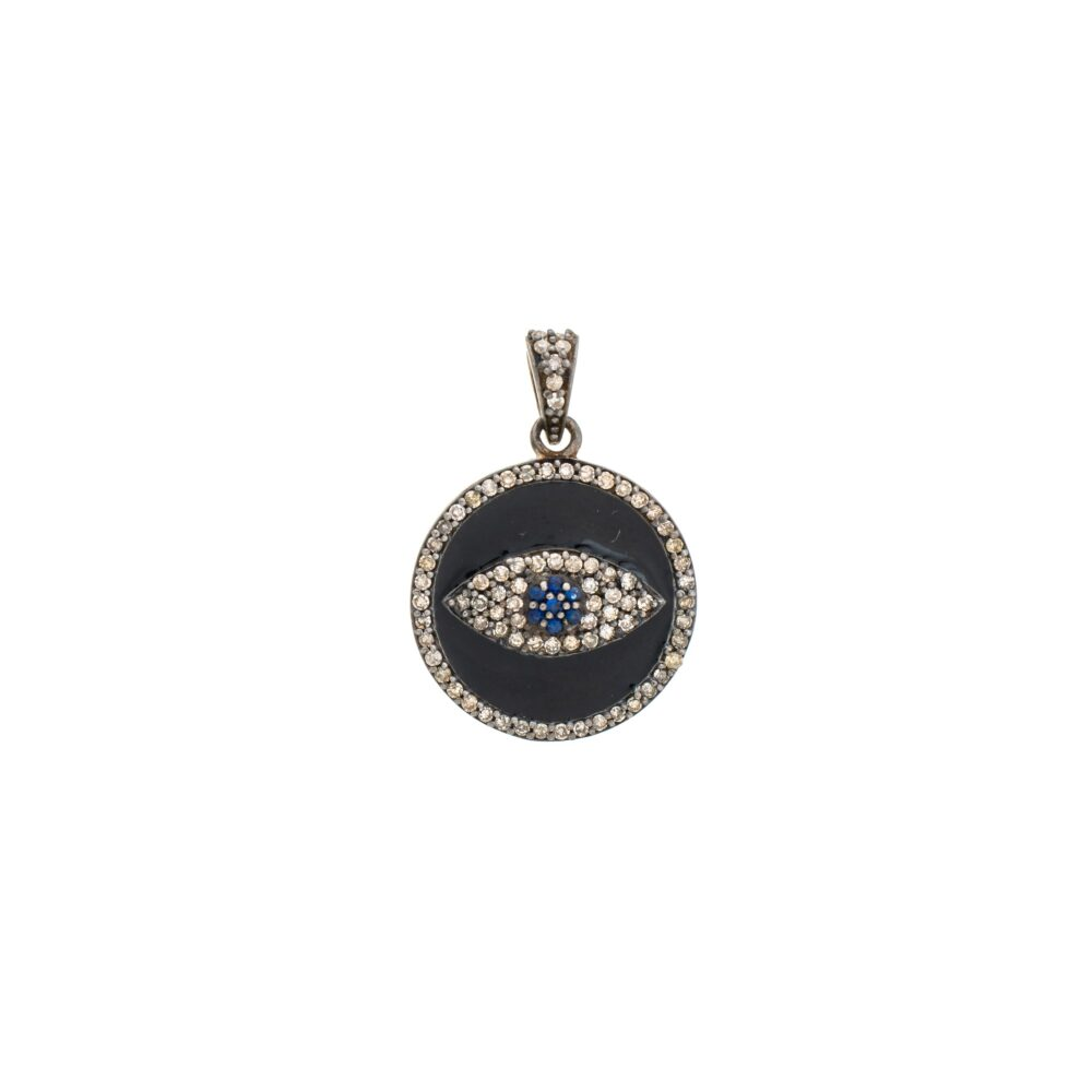Diamond Black Enamel Evil Eye Charm Sterling Silver