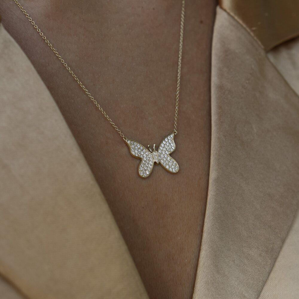 Diamond Butterfly Necklace Gold