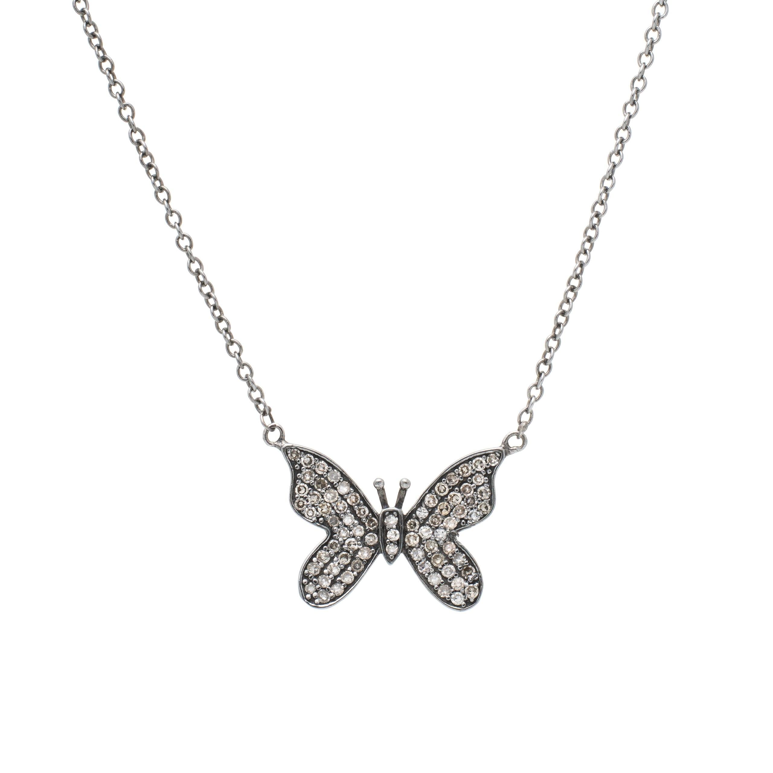 Diamond Butterfly Necklace Sterling Silver