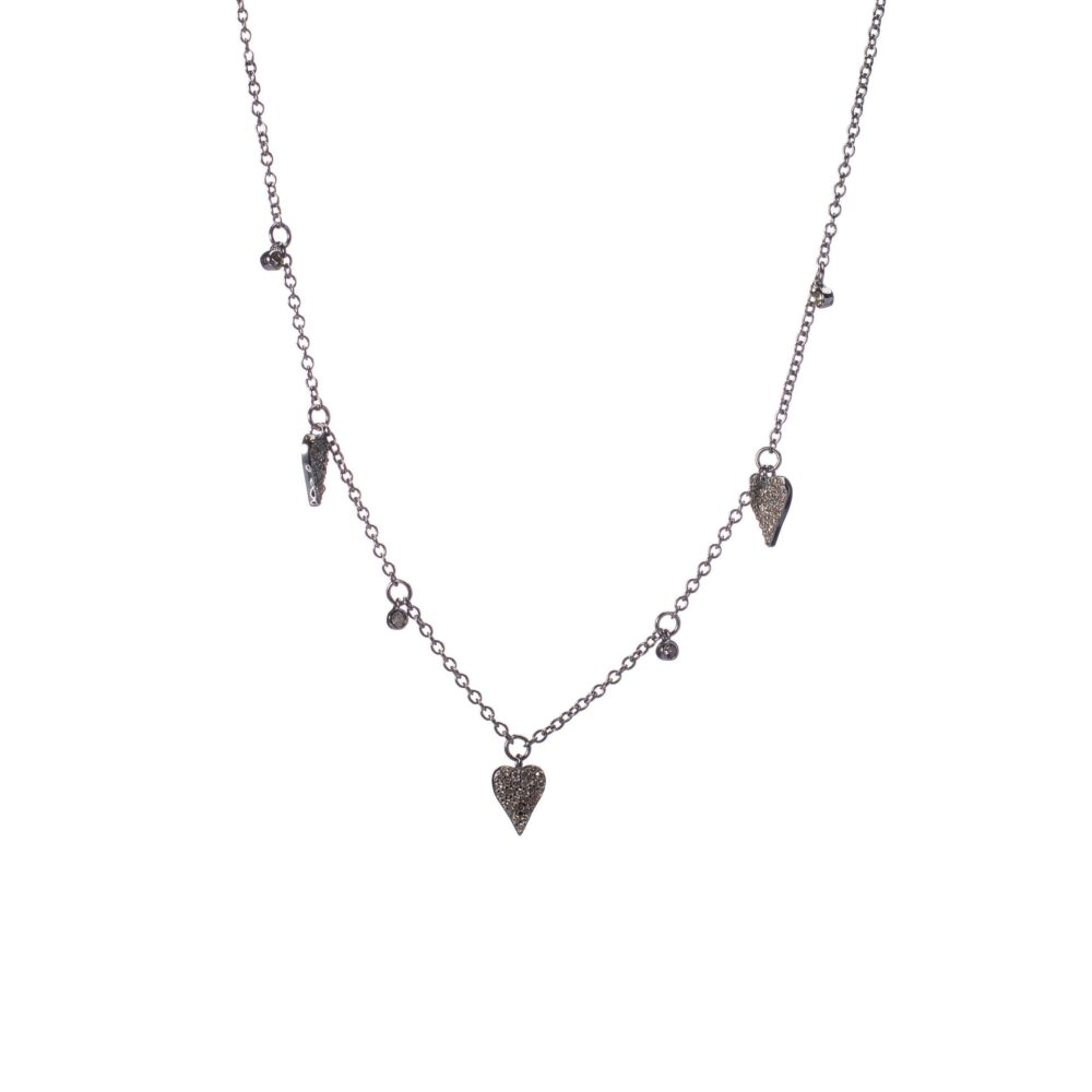 Diamond Dangling Heart Charm Necklace