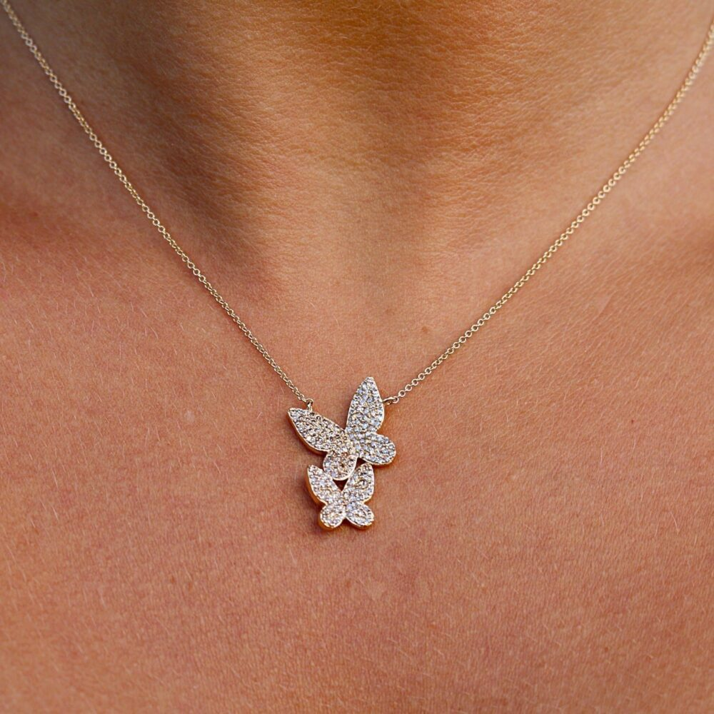 Diamond Double Butterfly Necklace