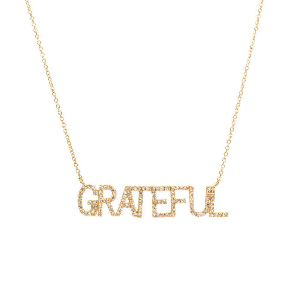 Diamond GRATEFUL Mantra Necklace Yellow Gold