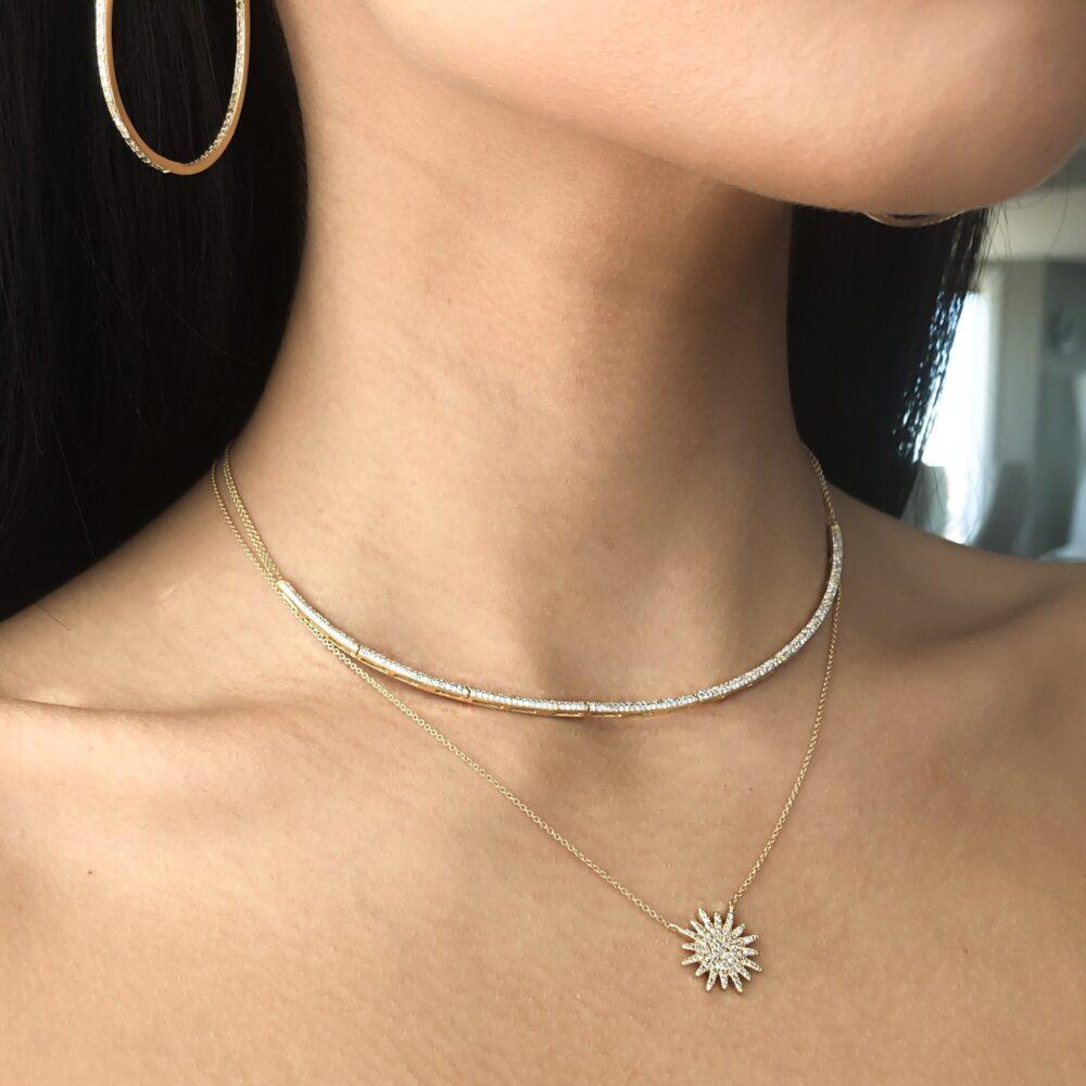 Diamond Hinged Bar Necklace