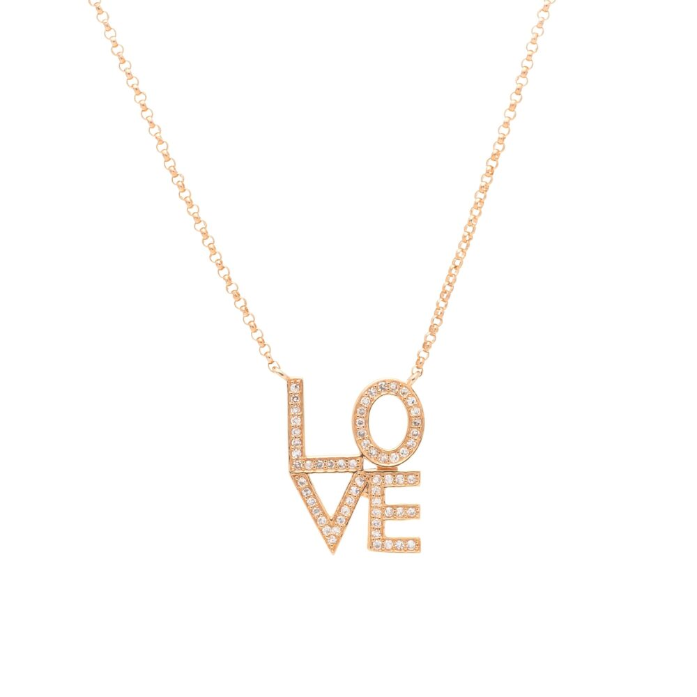 Diamond LOVE Stacked Necklace Rose Gold