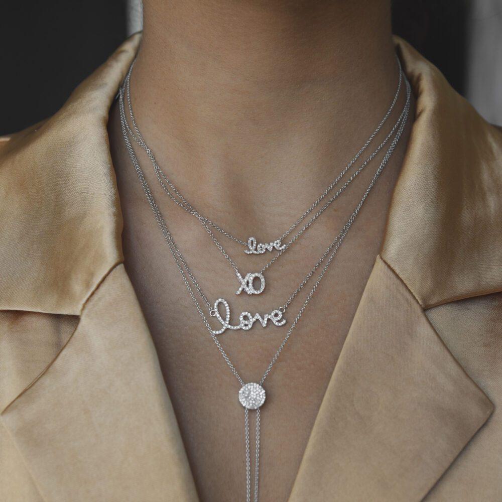 Diamond Love Script Necklace