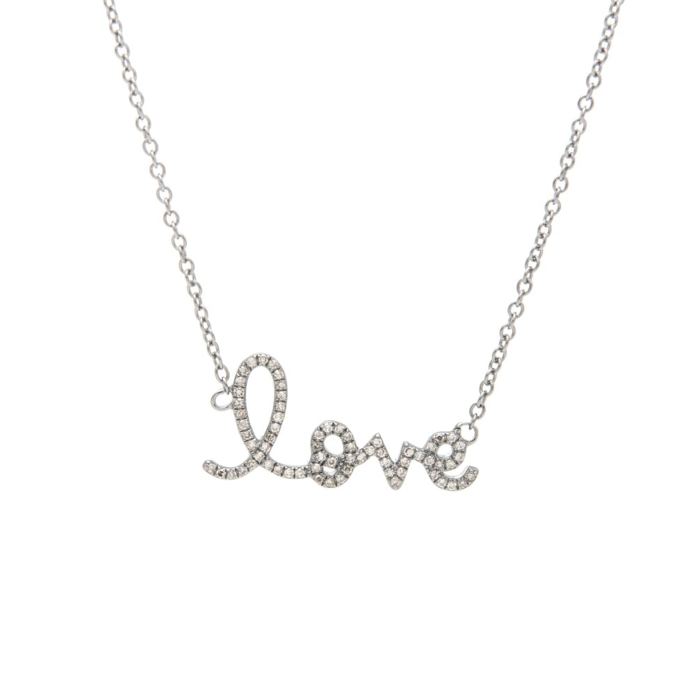 Diamond Love Script Necklace Sterling Silver