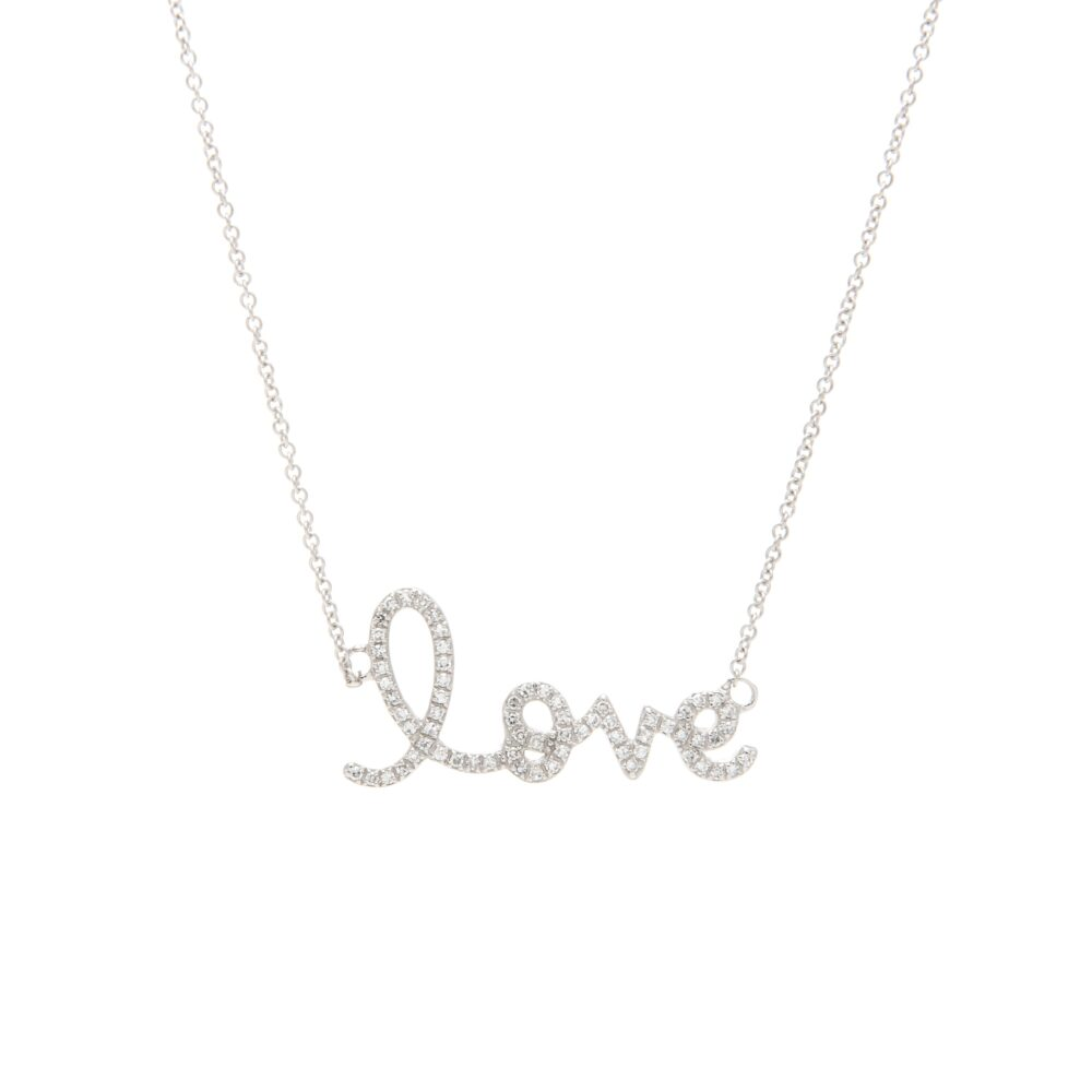 Diamond Love Script Necklace White Gold
