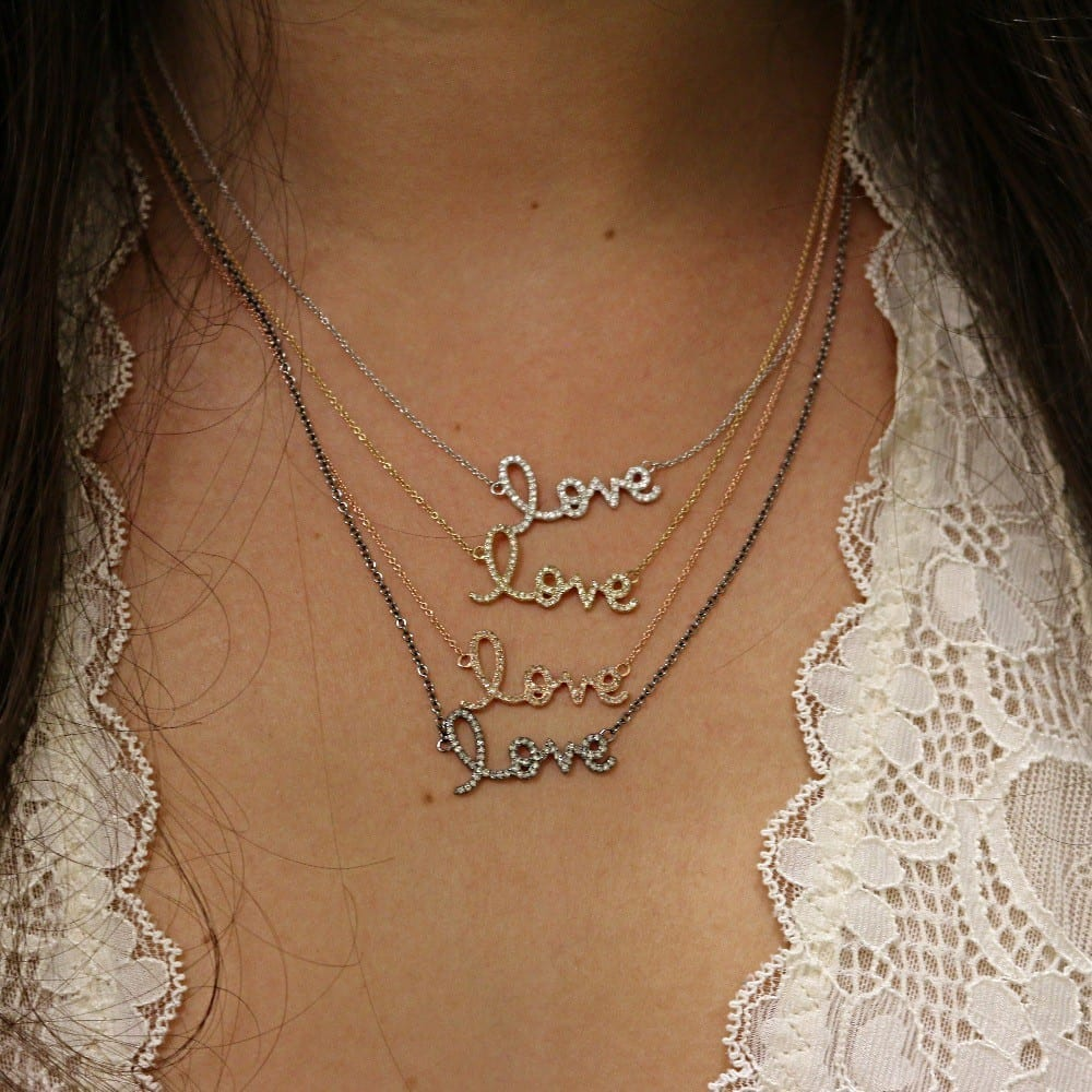 Diamond Love Script Necklace