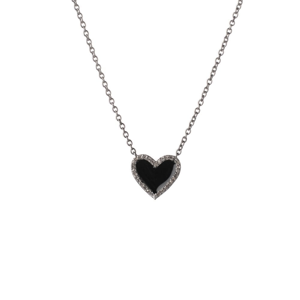 Diamond Mini Black Enamel Heart Necklace Sterling Silver