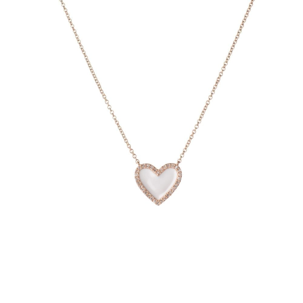 Diamond Mini White Enamel Heart Necklace Rose Gold