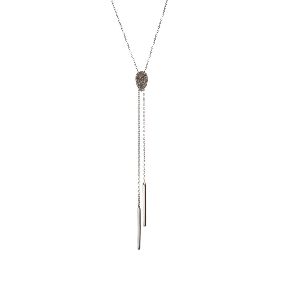 Diamond Pear Slide Y Lariat Sterling Silver
