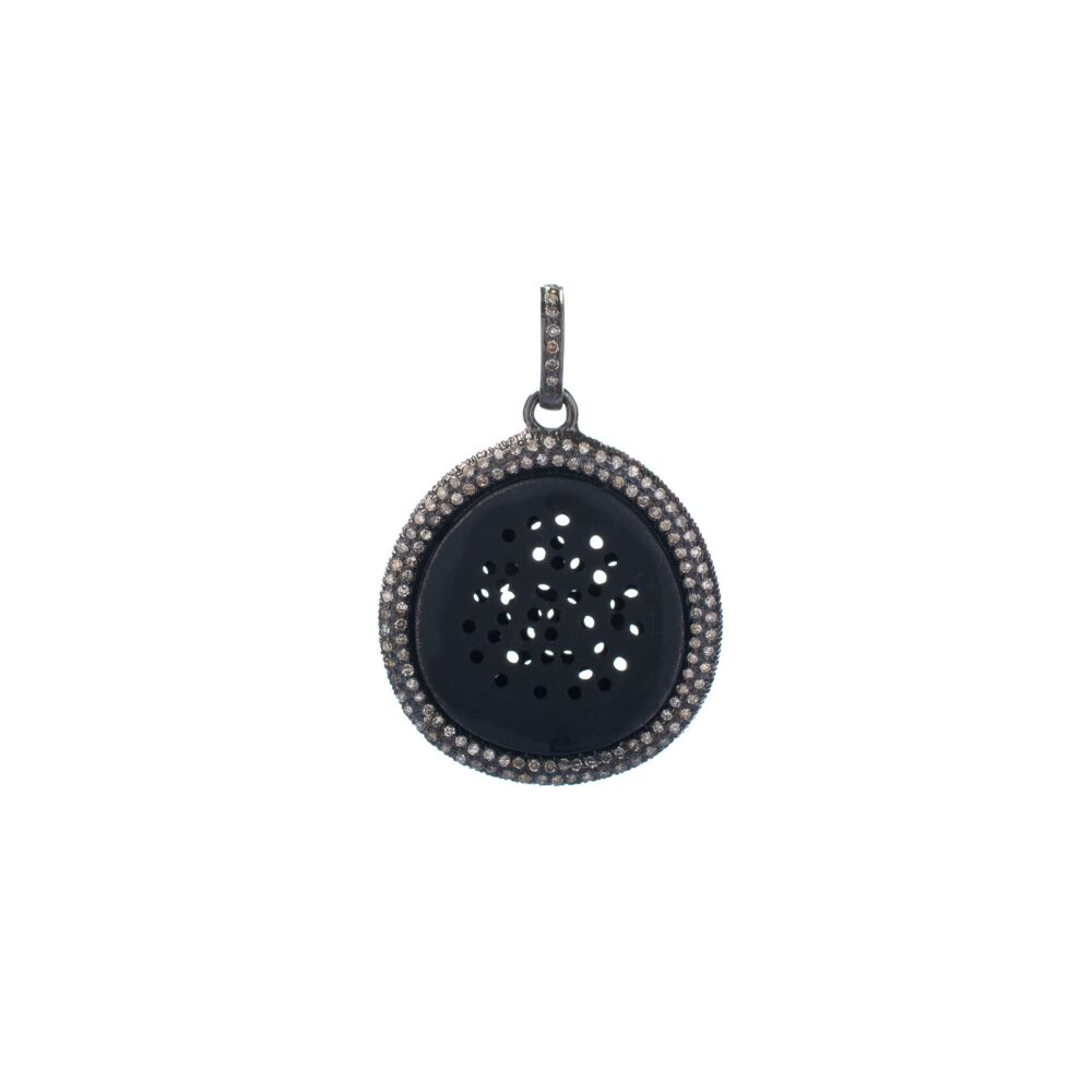 Diamond Pinhole Disc Charm Sterling Silver