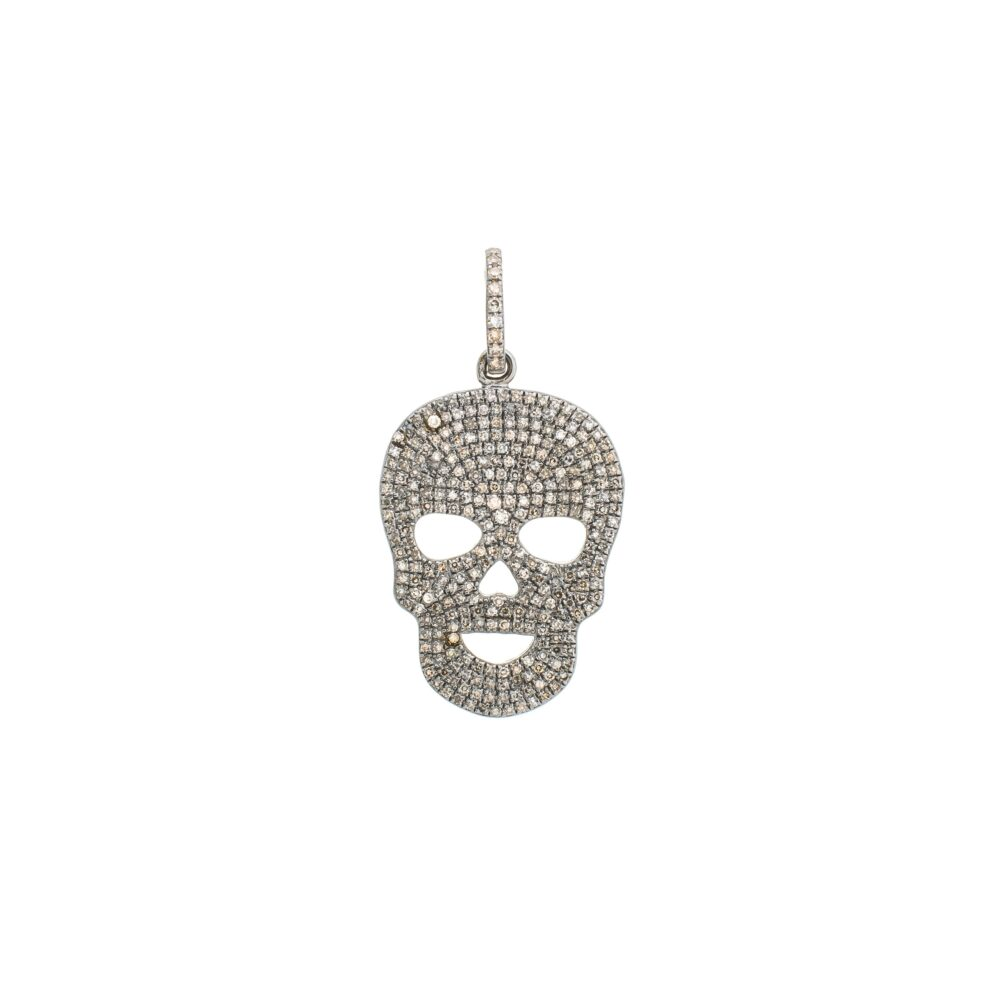 Diamond Skull Charm Sterling Silver