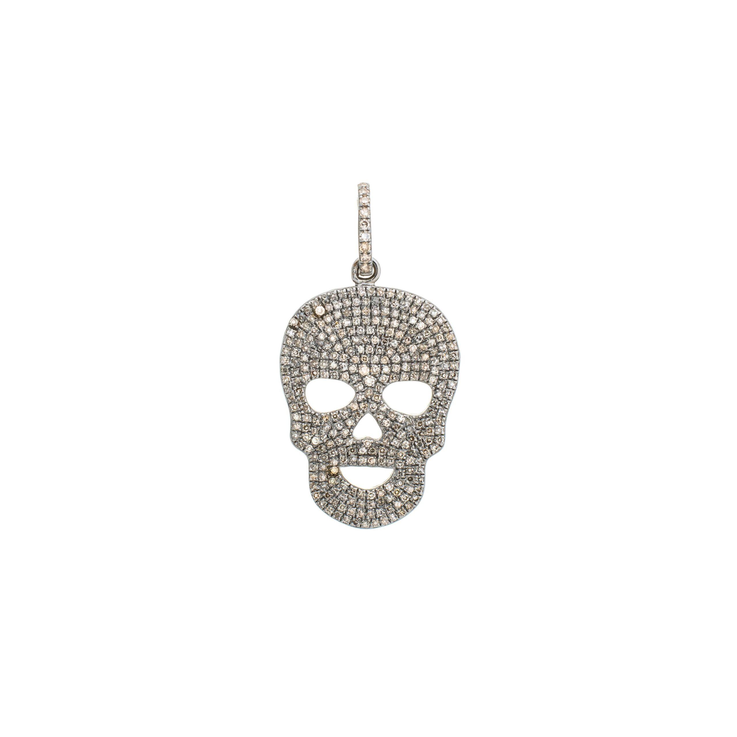 Diamond Skull Charm Sterling Silver
