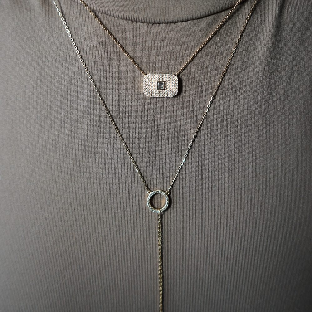 "Diamond Small Open Circle ""Y"" Lariat"