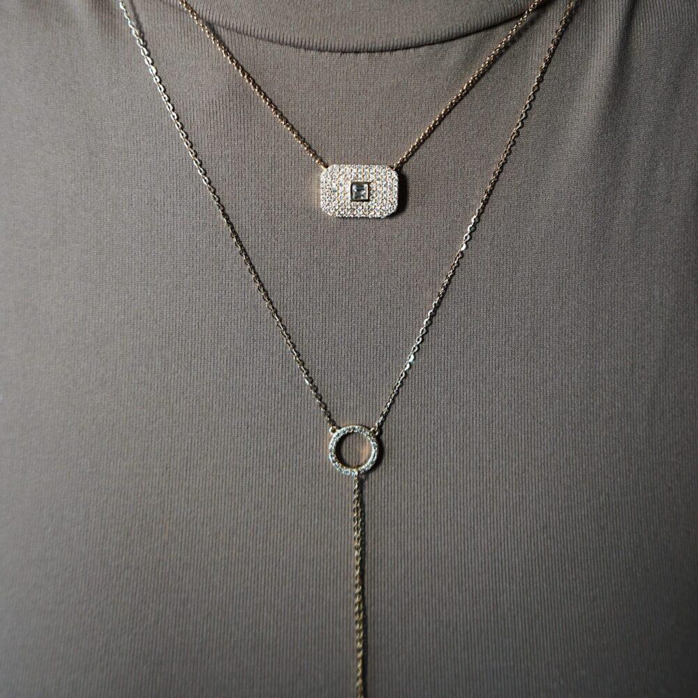 "Diamond Small Open Circle ""Y"" Lariat"