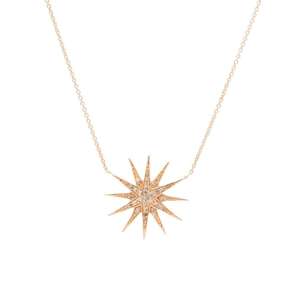 Diamond Starburst Necklace Rose Gold