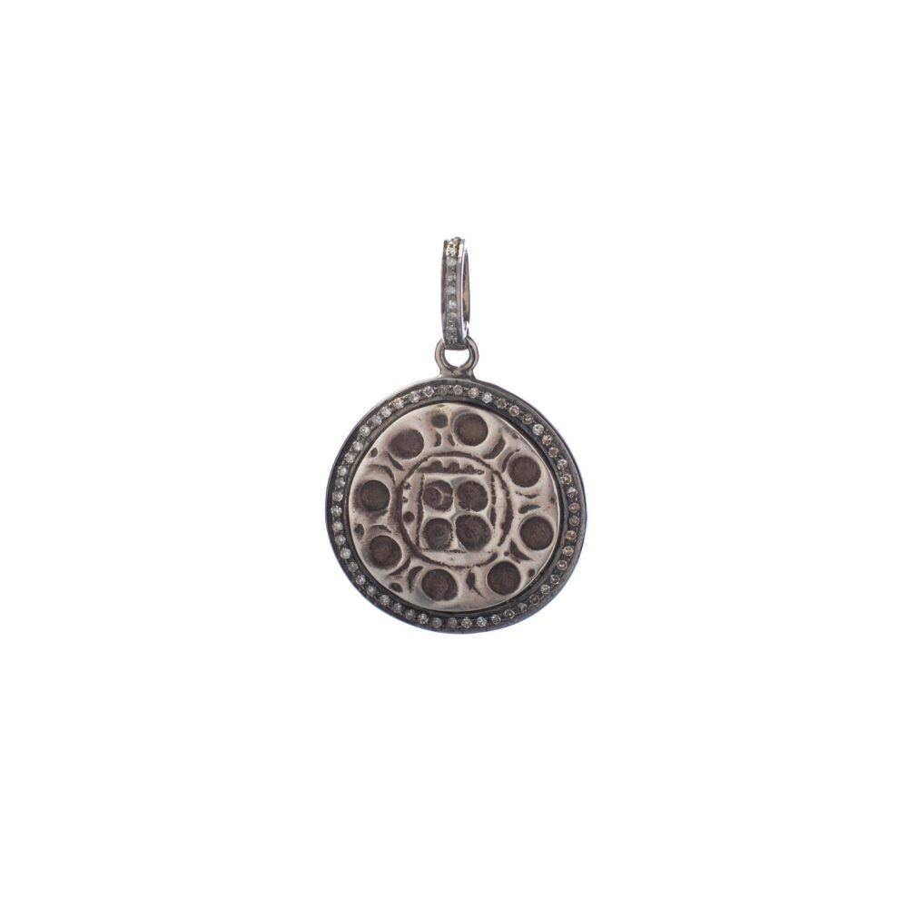 Diamond Tribal Coin Charm Sterling Silver