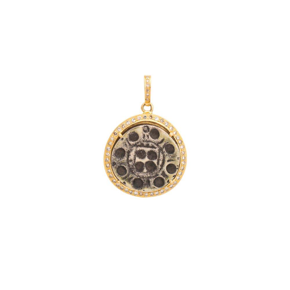 Diamond Tribal Coin Charm Yellow Gold