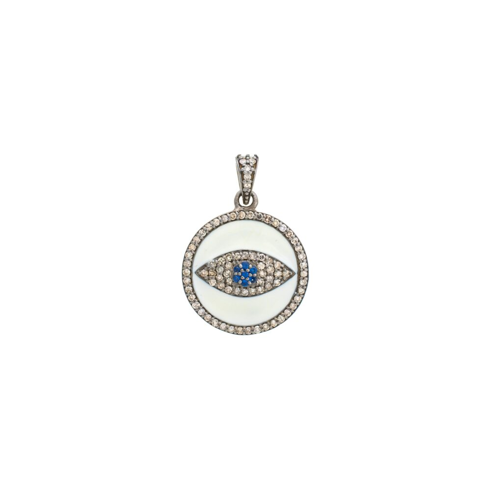 Diamond White Enamel Evil Eye Charm Sterling Silver