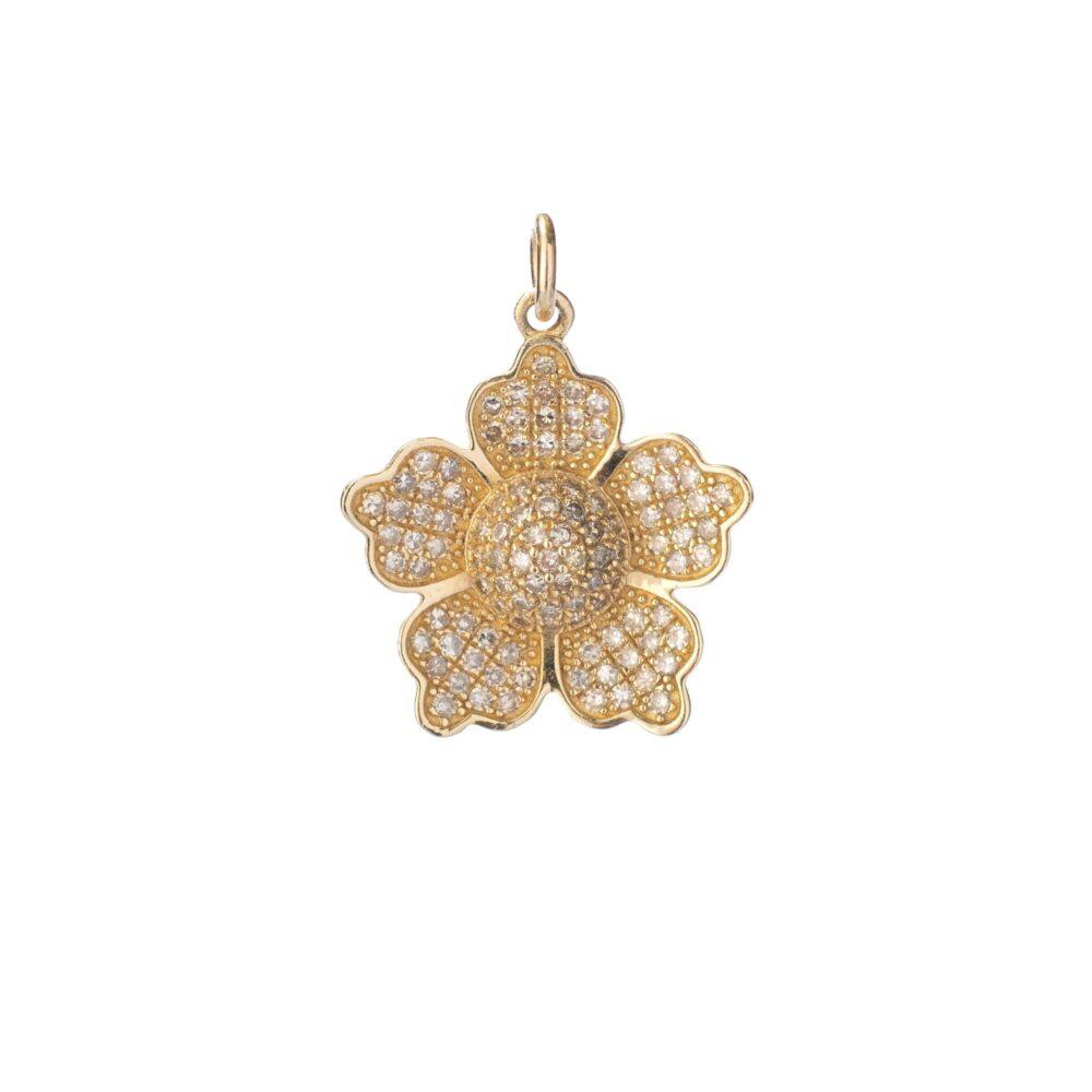 5 Petal Diamond Flower Charm