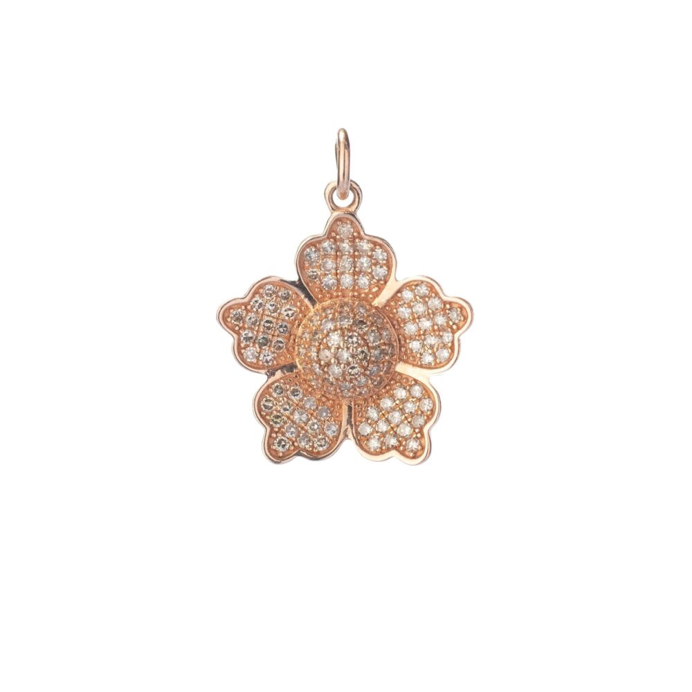 5 Petal Diamond Flower Charm