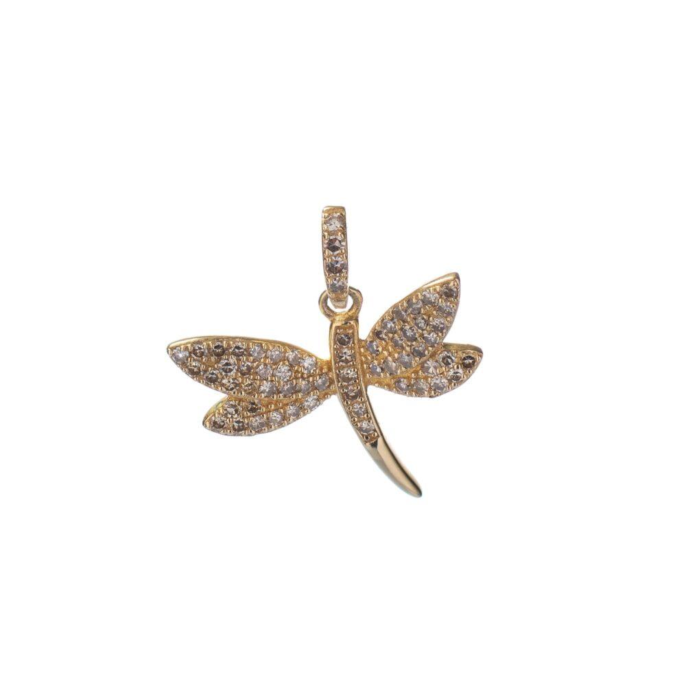 Small Diamond Dragonfly Charm