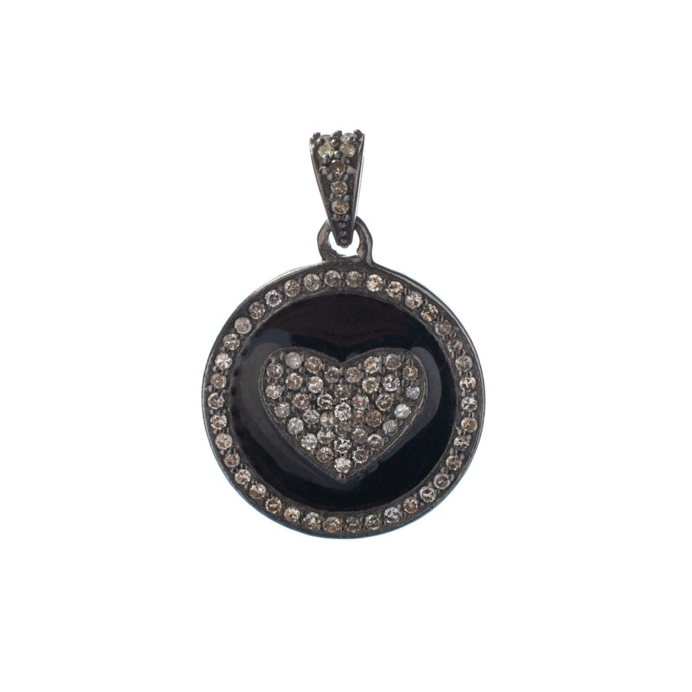Diamond + Black Enamel Heart Charm