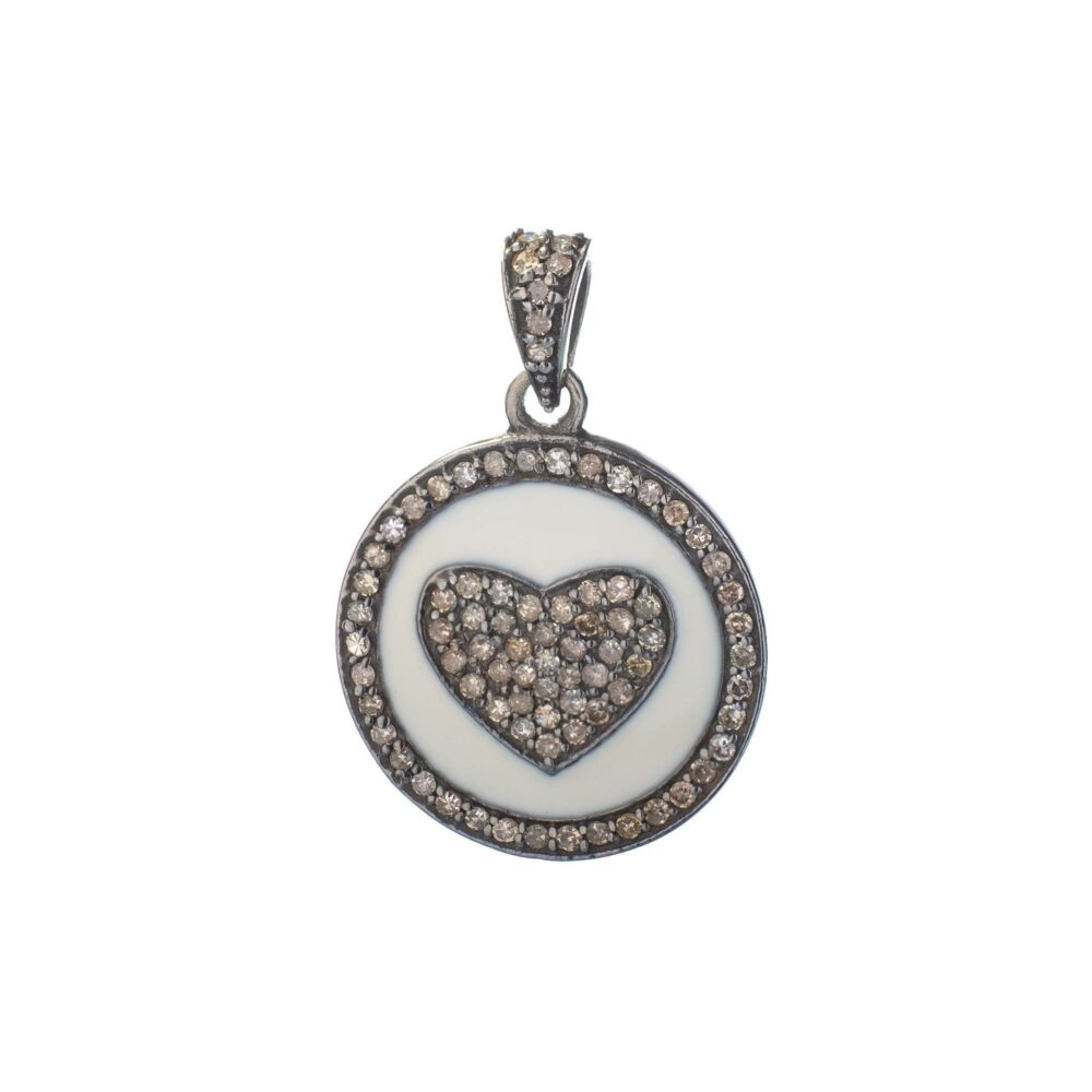 Diamond + White Enamel Heart Charm