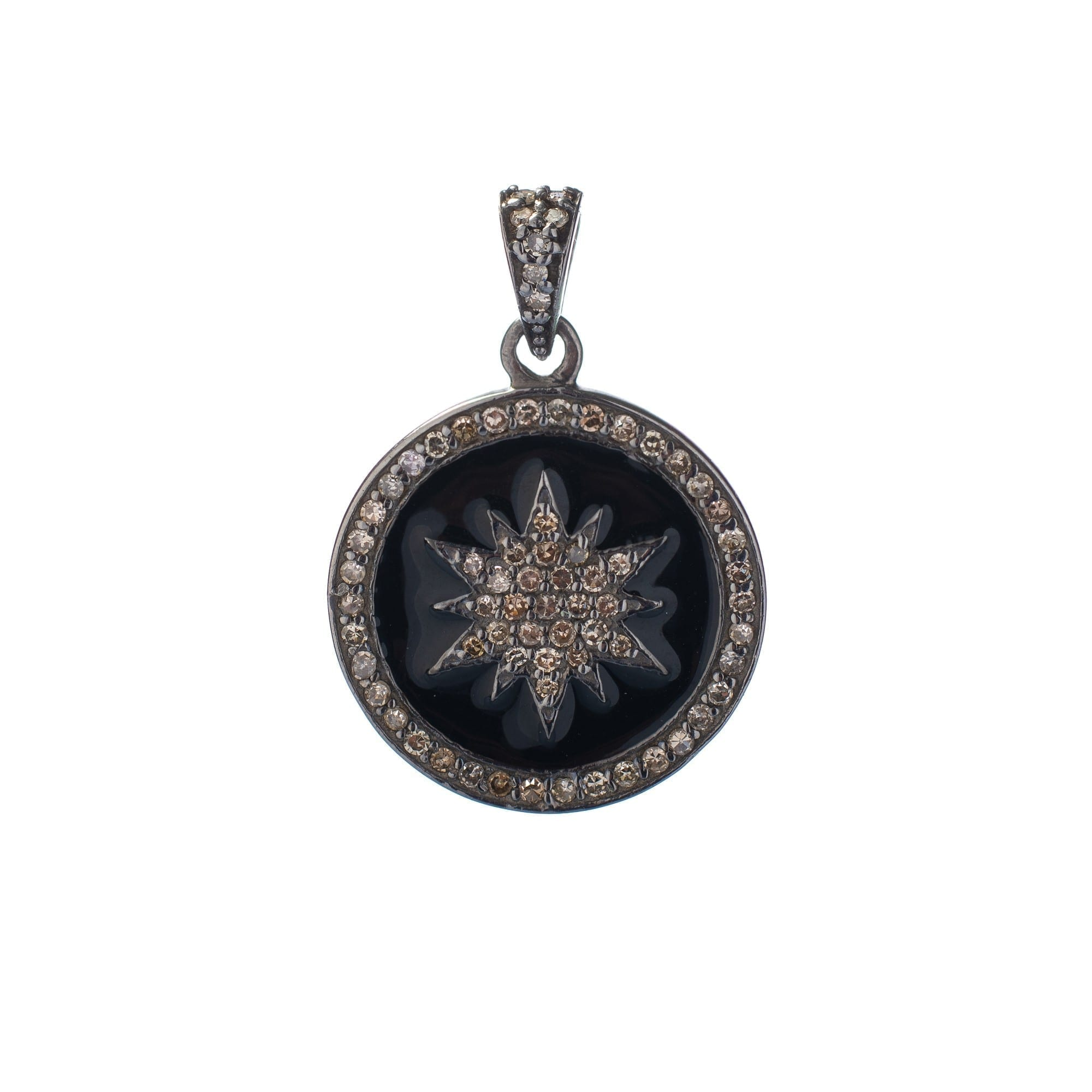 Diamond + Black Enamel Sunburst Charm