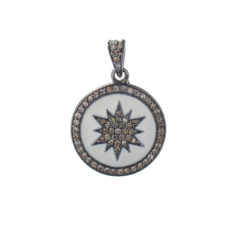 Diamond + White Enamel Sunburst Charm