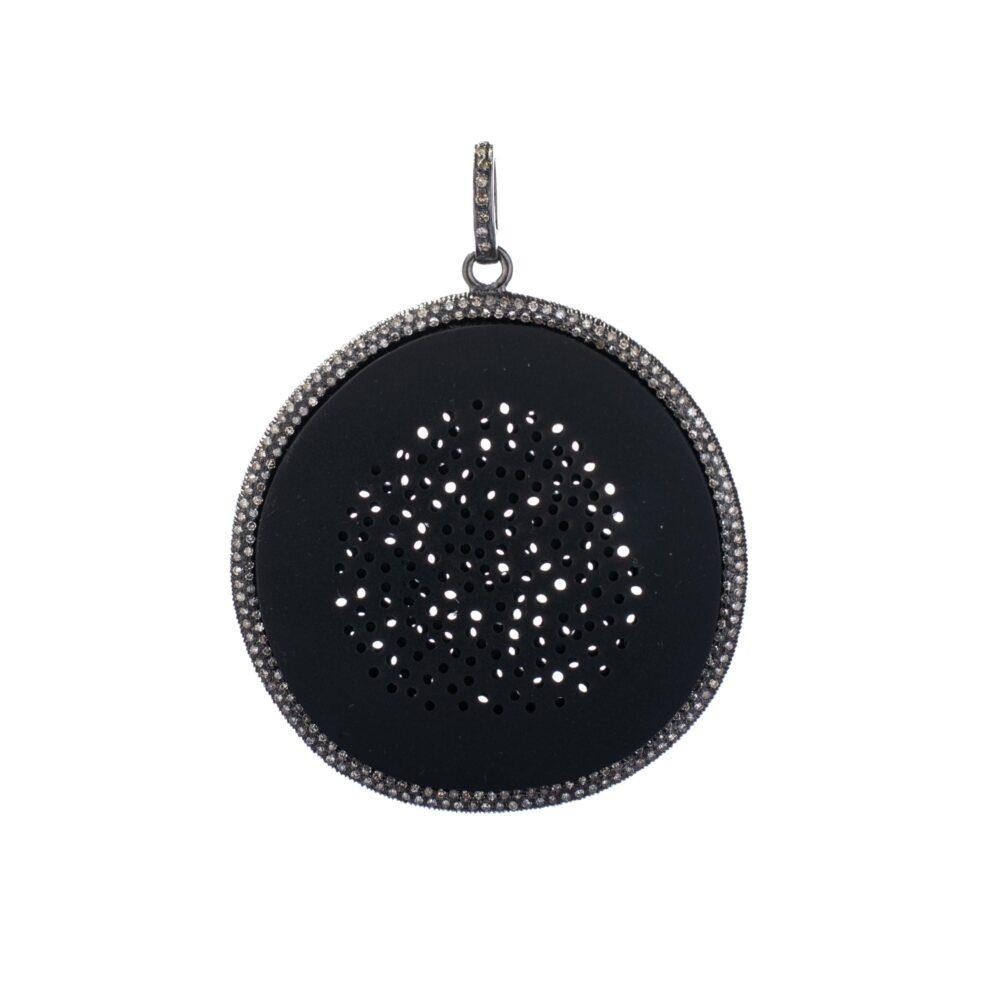 Large Black Pinhole Diamond Disc Pendant