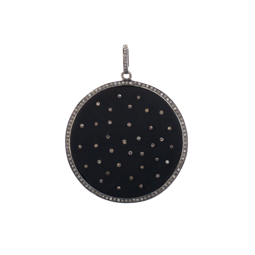 Diamond Black Metal Oversize Disc Pendant