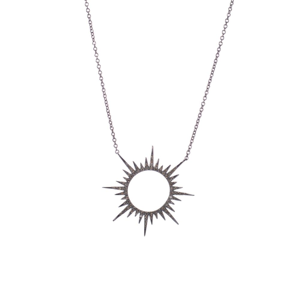 Diamond Circle Sunburst Necklace