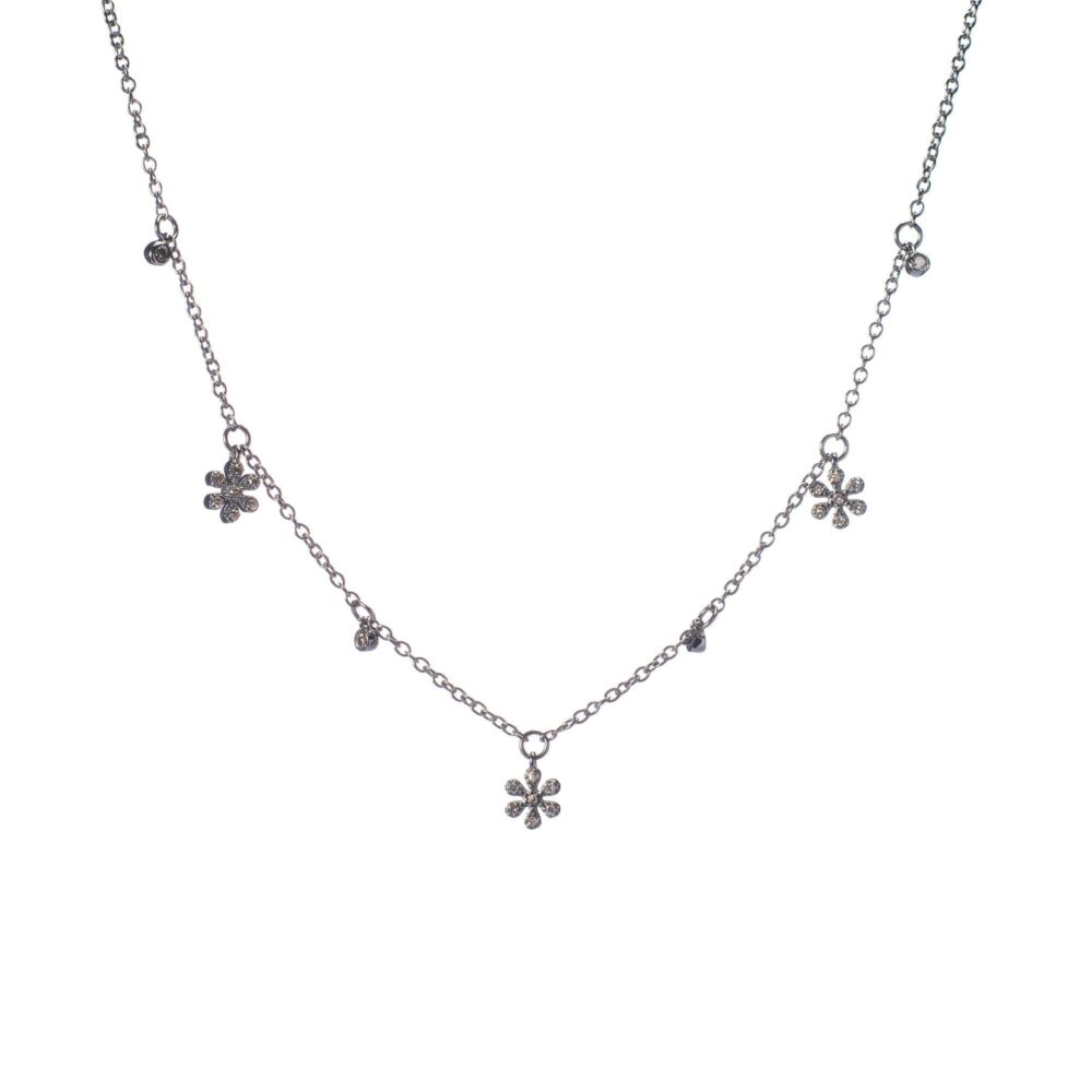 Diamond Dangling Flower Charm Necklace