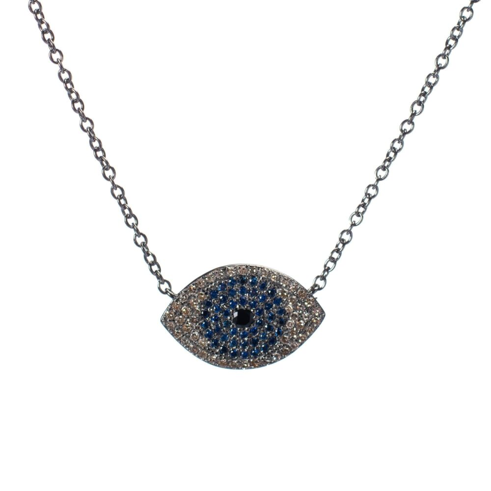 Pave Diamond Evil Eye with Sapphires