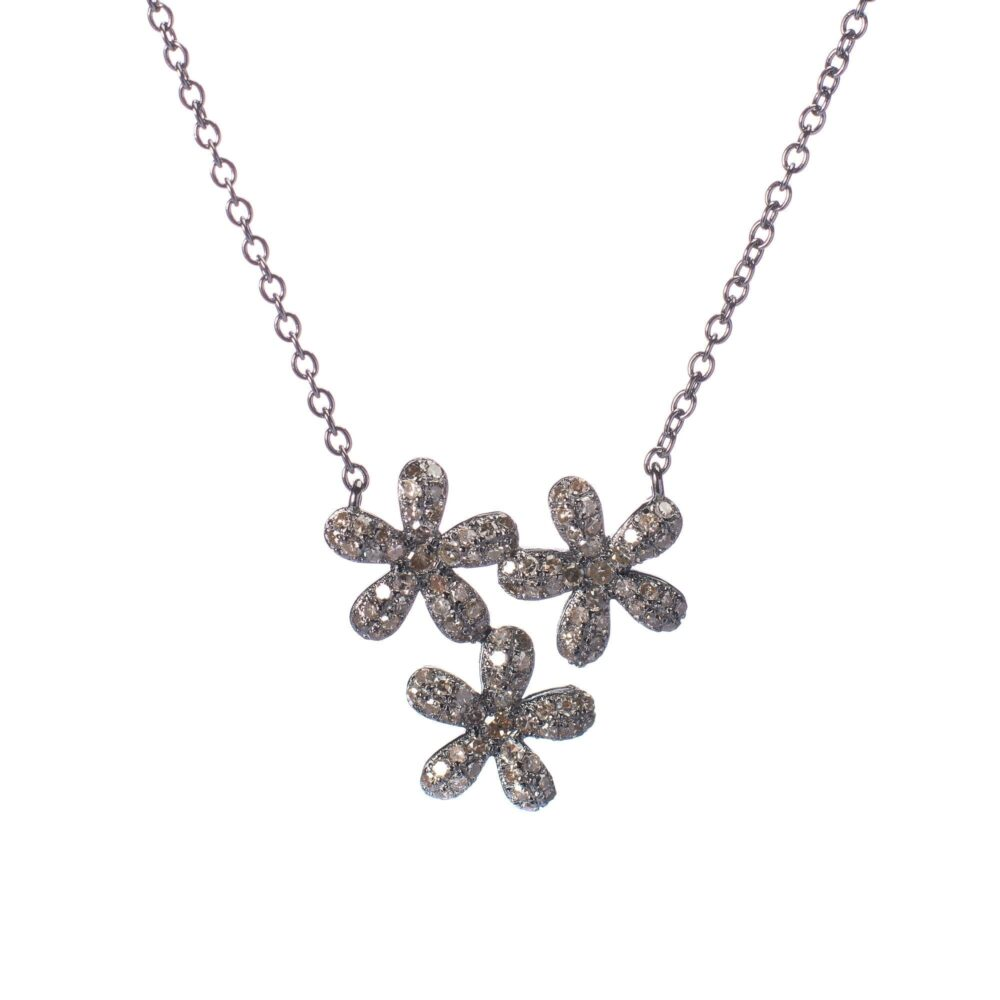 Triple Diamond Daisy Necklace