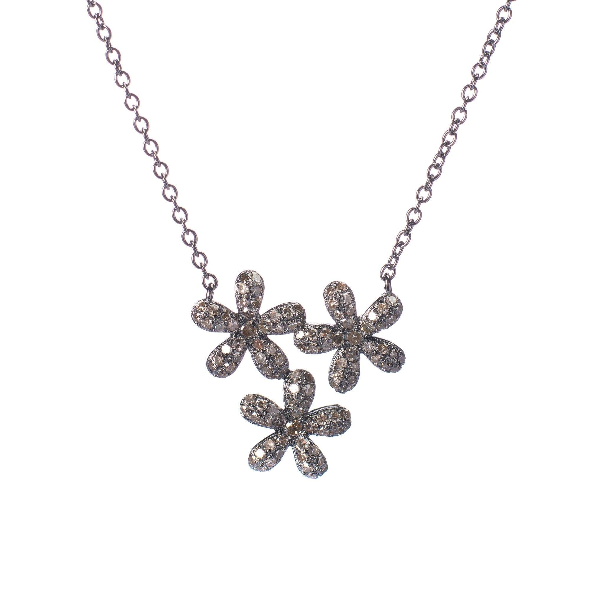 Triple Diamond Daisy Necklace